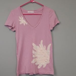 J. Crew Pink v neck tee shirt with floral design